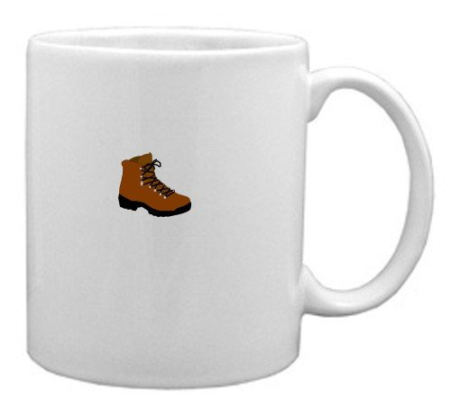 White Mug with the image of: hiking boot