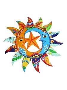 Hammered Metal Wall Art Sculpture Sun Moon Yin Yang Talavera Style 15 Inch