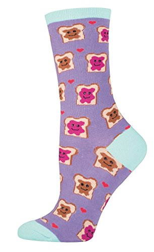 Socksmith Peanut Butter and Jelly Sandwiches Womens Crew Socks (Lavender) (Butter Shoes For Women compare prices)