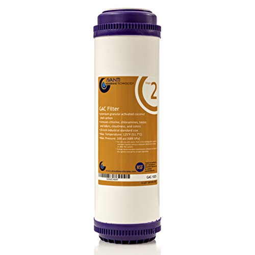 Stage 2 Granular Activated Carbon Filter for under-sink RO filtration drinking water system - NSF certified, 10 inch, 2.5