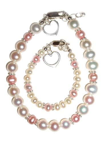 Mom and Me, Mother & Daughter, Freshwater Pink (Hearts Entwined), Womens Bracelet, Baby Bracelet, Sterling Silver, freshwater pearls accented with pink pearls and adorned with matching silver heart charms