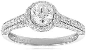 IGI Certified 18k White Gold .75 ct Round-Cut Center Diamond Antique Engagement Ring (1.40 cttw, H-I Color, SI1-SI2 Clarity), Size 6.5