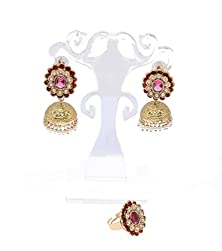 buy Valentines Gift For Her -Bollywood Jewelry- Pachi Work Jhumki Earrings And Finger Ring Sku101070