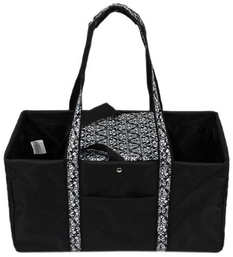 Sachi 194-146 Fashion Utility Lunch Tote with Insulated Cooler, Black with Black and White Damask - 1