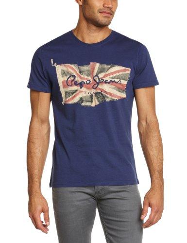 Pepe Jeans Flag Logo - Maglietta, uomo, Blu (Blau (ETON BLUE)), M
