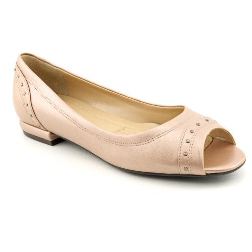 Easy Spirit Becco Womens Size 6 5 Pink Peep Toe Leather Flats Shoes