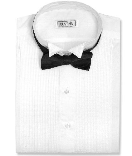Covona Men's Tuxedo Solid White Color Dress Shirt w/ Black Bow Tie