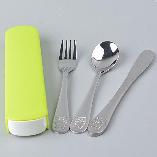 SwirlColor 3 pièces en acier inoxydable Portable réutilisable Couverts Cuillère Fourchette Couteau Voyage Vaisselle avec étui vert