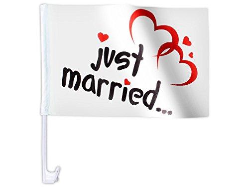 Set di 20 bandierine per la macchina ,,Just Married' (AFL-10) motivo due cuori matrimonio bandiera decorazione macchina auto romantico amore nozze sintetico festa eventi spettacolo