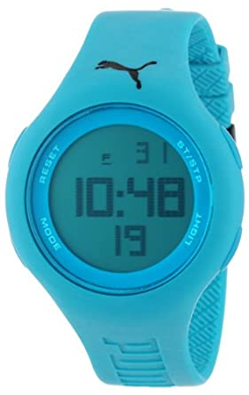 "PUMA Unisex PU910801001 ""Loop"" Neon Blue Digital Watch"
