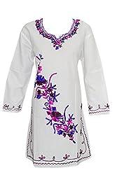 Indiatrendzs Women Kurti Cotton White Embroidered Cotton Long Tunic Chest: 42