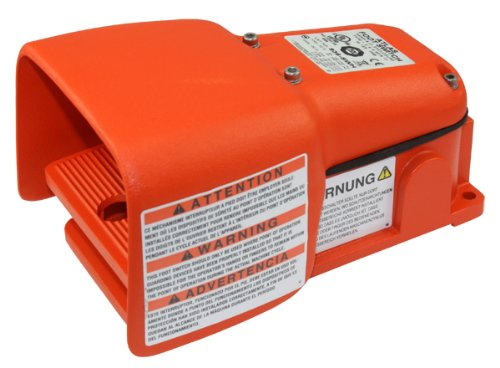 Linemaster 936-Swh Atlas Foot Switch, Electrical, Single Pedal, Momentary, Single Stage, Spdt, Full Aluminum Guard, Orange