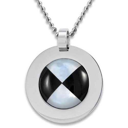Stainless Steel Mother of Pearl and Onyx Necklace