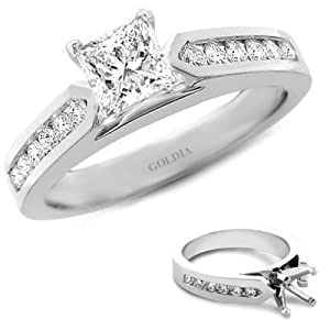 1.75 Ct. tw. Channel-Set Engagement Setting with Princess Diamond