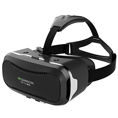 "VR SHINECON 2nd VersionVirtual Reality Glasses Headset for 3D Videos Movies Games Compatible with Most 3.5""-6.0"" iPhone, Samsung, HTC, LG, Sony, Moto Smartphone (Black)"