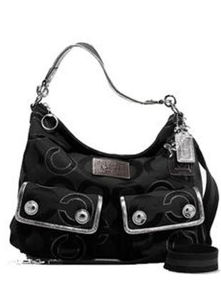 Coach Signature Op Art Lurex Pocket Sac Shoulder Bag Purse 16167 Black
