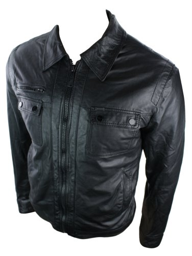 Mens Real Leather Jacket / Black Washed / Zipped Design / Casual Retro (medium, Black)