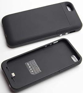 Custodia con Batteria integrata da 2200 mAh per iPhone 5 con ingresso cuffie - Nero