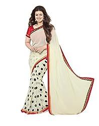 VinayTM Elegant Traditional Designer Georgette Printed & Lace Work Cream Saree With Blouse Material