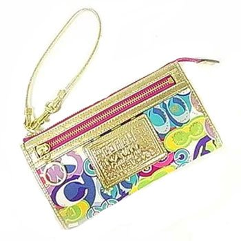 Coach Poppy Op Art Signature Zippy Wallet Wristlet Clutch Bag 44084 Multi