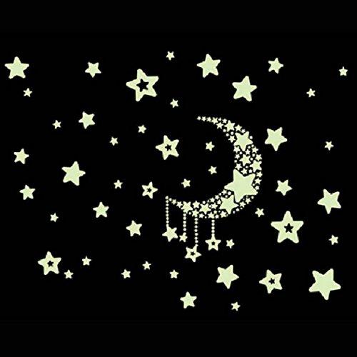eenkula Fluorescence Sticker Lune éToile Lumineuse Sticker Mural Pour Salle De Pépinière BéBé D'Enfant