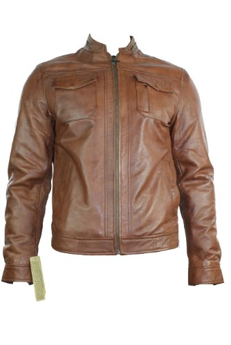 Mens Real Leather Jacket Biker Style Tan Brown Zipped Design Casual Fitted Retro