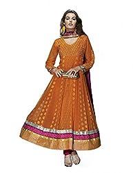 Nirali Womens Georgette Orange Pink Salwar Kameez, Semi-Stitched