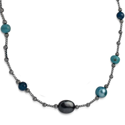 Southwest Spirit Sterling Silver Shades of Teal Long Beaded Station Necklace - 36