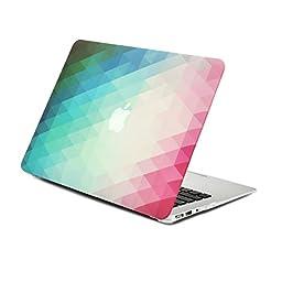 Unik Case-2 in 1 Gradient Ombre Triangular Galore Graphic Matte Rubberized Hard Shell Case & Silicon Skin for Apple Macbook Pro 13.3\