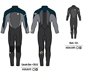 Body Glove Men's 4/3mm Fusion Back Zip Full Body Wetsuit, Medium Large