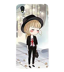 Fuson Premium Back Case Cover Cute office Girl With Multi Background Degined For One Plus X::One + X