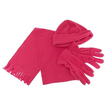 womens plain fleece thermal winter scarf gloves