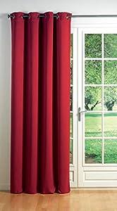 Douceur d'Intérieur 1600002 Rideau Oeillets Occultant Uni Cocoon Rouge 140 x 260 cm
