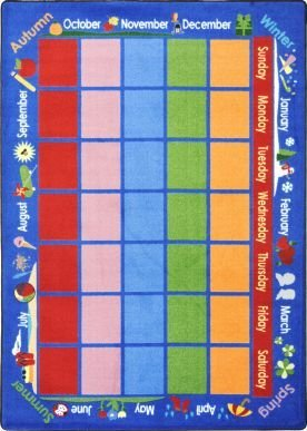 "Joy Carpets Kid Essentials Early Childhood Celebrations Calendar Rug, Multicolored, 5'4"" x 7'8"""