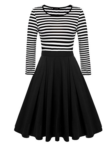 ACEVOG Women's Vintage Stripes Patchwok A-line Long Sleeve Cocktail Dress,Black,Medium