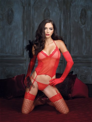 2 Piece Fishnet Halter Cami Garter With Lace Trim