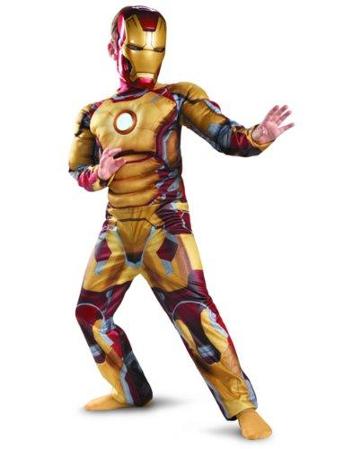 Disguise Marvel Iron Man Movie 3: Iron Man Mark 42 Boys Muscle Light Up Costume, 4-6