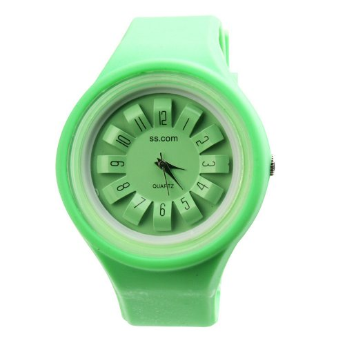 Yesurprise Candy Flower Dial Silicone Band Jelly Ladies Men Quartz Wrist Watch Green