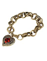 Young & Forever Bronze Red Crystal Heart Pendant Bracelet For Women By CrazeeMania