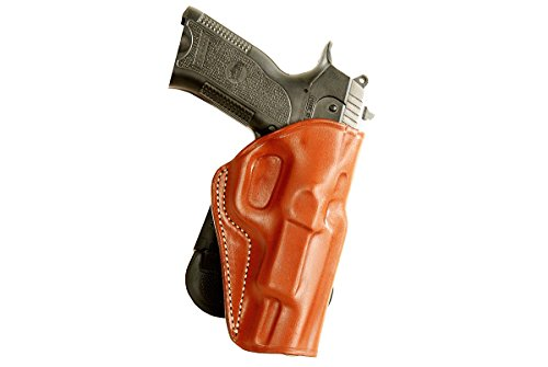 LEATHER PADDLE OWB HOLSTER FOR SPRINGFIELD 1911 EMP 4''BBL LIGHTWEIGHT CHAMPION 9mm R/H DRAW, BROWN COLOR #1008# (Springfield 1911 Champion compare prices)