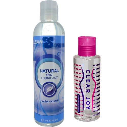 CleanStream Natural Anal Lube 8 oz. and Clear Joy Premium Personal Lube 4 oz. Combo