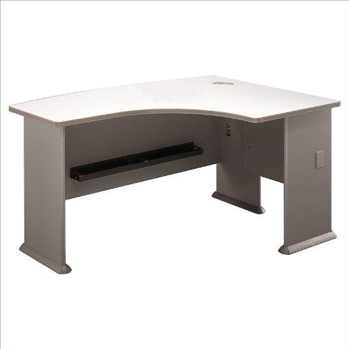 Right L Bow Desk White Spectrum Top/Pewter Base