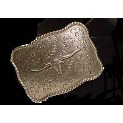 Longhorn Steer Head Western Belt Buckle with Sterling Silver Finish (Square buckle with silver longhorn)