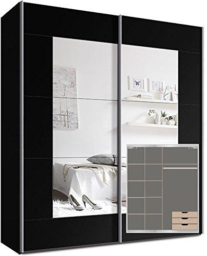 Kleiderschrank-Schwebetrenschrank-ca-200cm-inkl-9-Einlegebden-Trdmpfer-fr-2-Tren-und-3x-Schubladen-Schwarz-Spiegel