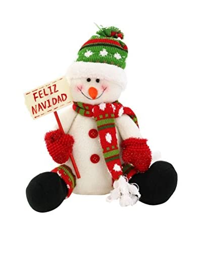 Figura Decorativa Muñeco De Nieve Feliz Navidad