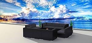 Urban Furnishing - BLACK SERIES 11a Modern Outdoor Backyard Wicker Rattan Patio Furniture Sofa Sectional Couch Set from UrbanFurnishing.net