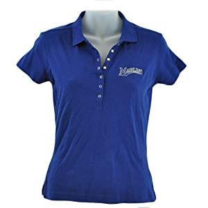 MLB Florida Miami Marlin Licensed Women Ladies Polo Collar Shirt Adult Navy Blue by Licensed
