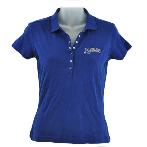 MLB Florida Miami Marlin Licensed Women Ladies Polo Collar Shirt Navy Blue Large at Amazon.com