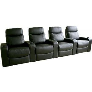 Baxton Studio Baxton Studio Angus Leather Home Theater Recliner - Set of 4 -, Black