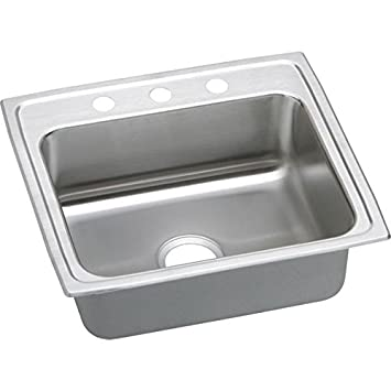 Elkay LR22191 1-Hole Gourmet Lustertone Stainless Steel 22-Inch x 19-1/2-Inch Single Basin Top-Mount Kitchen Sink